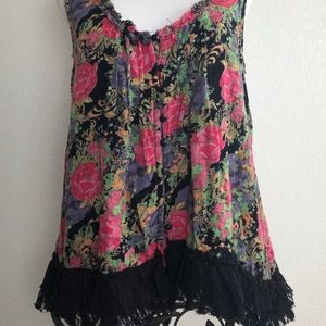 Angie Tank Top Floral Crochet Lace